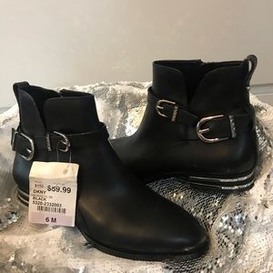 DKNY black leather booties